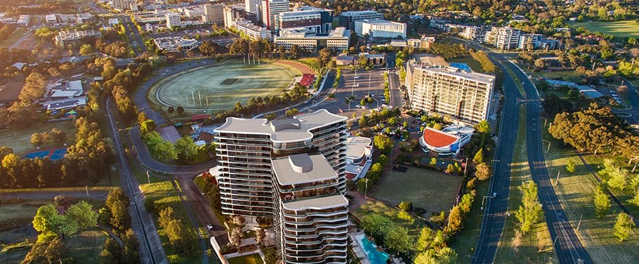 Arial view towards Woden